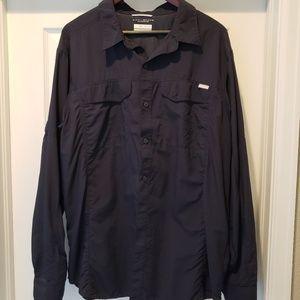 Mens XL Columbia button shirt navy blue